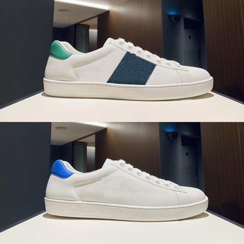 Ace Mens Casual Shoes Cuir Blanc En Cuir noir Italie Rouge et Vert Web Luxurys Designers Sneaker Cartoon Patch Caoutchouc Sole Sole Sollocking Womens Shoe Shoe Formateurs