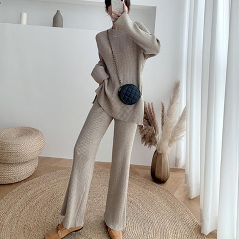 Massive Frauenanzug Zwei Stück Pullover Pullover Tops Gestrickte lange Hosen Damen Elegante Slim O-Neck Strick Home Sets 210603