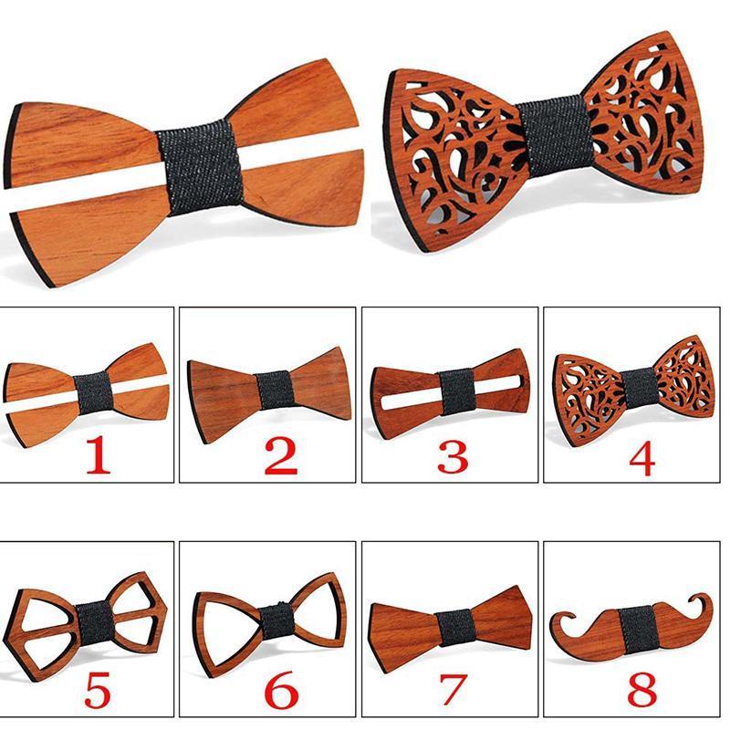 Bogen bindungen vintage männer holzbindung aushöhlen geschnitzt retro neck fest farbe hohe qualität für schmetterling