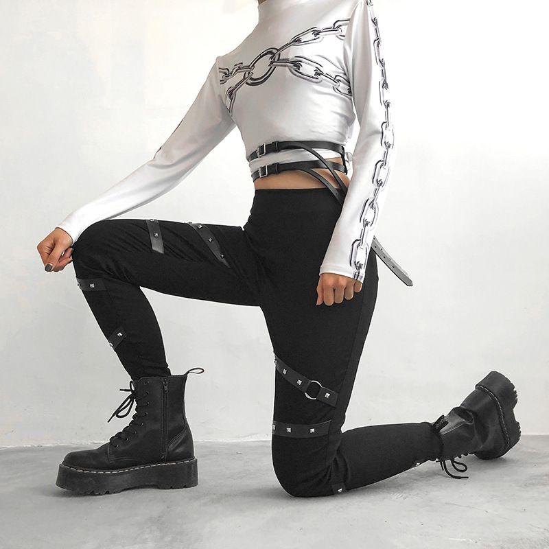 2021 New Fashion Straight Dark Body Cool High Waist Pants Gothic Punk Rivet Female Ny Black Women Capris Trousers Xs93