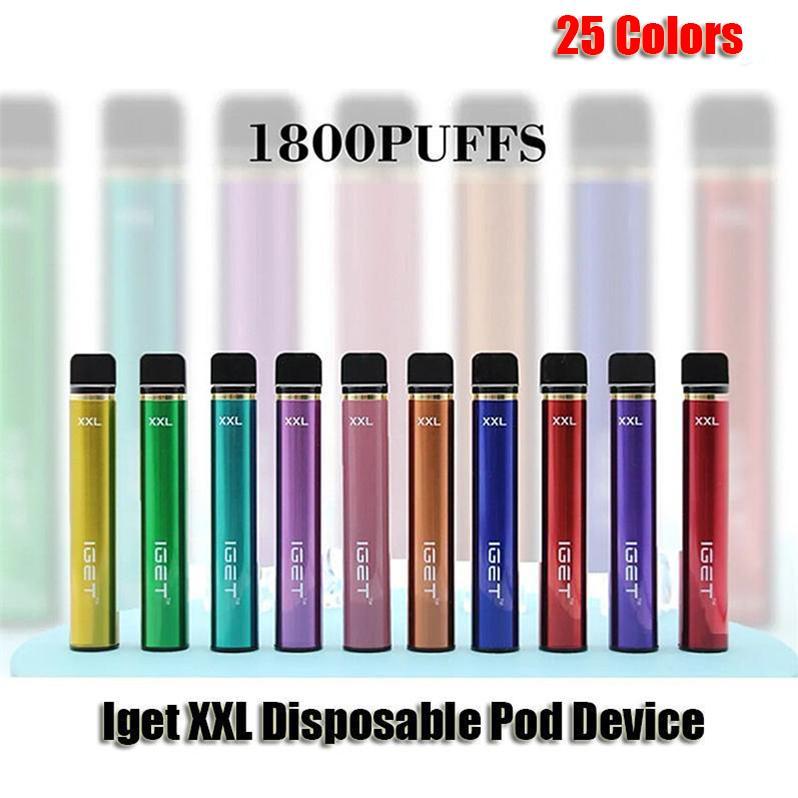 원래 IGET XXL 일회용 포드 전자 담배 장치 키트 1800 퍼프 950mAh 배터리 7ml 프리 쿼리 카트리지 vape 펜 정통 vs 플러스 bang gunnpods king max