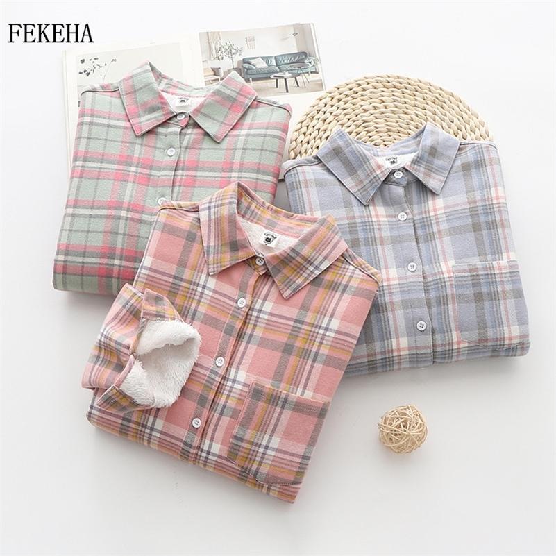 Hiver garder chaude chemise à carreaux femme blouse décontracté 100% coton plus épais de velours à manches longues dames femmes tops blusas 210226