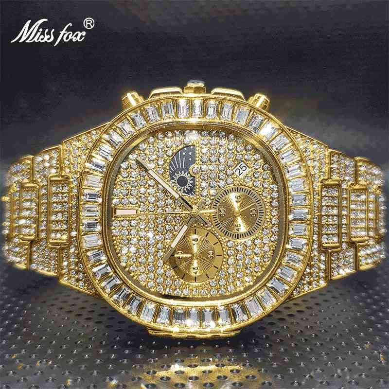 Cronografi da uomo Orologio 2021 Luxury Black Missfox Ice Out Bling Stone Jewelry Watches per uomo Relogios Atacado Com Frete GRATIS