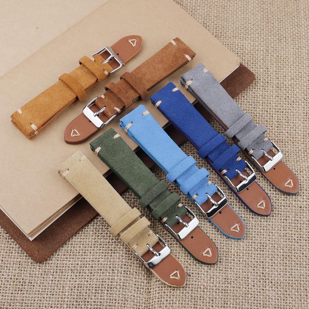 Bande de montre en cuir de daim 18mm 19mm 20mm 22mm 22mm Bleu Vintage Vintage Sangle de remplacement Bracelet de remplacement Bandeau de couture à la main
