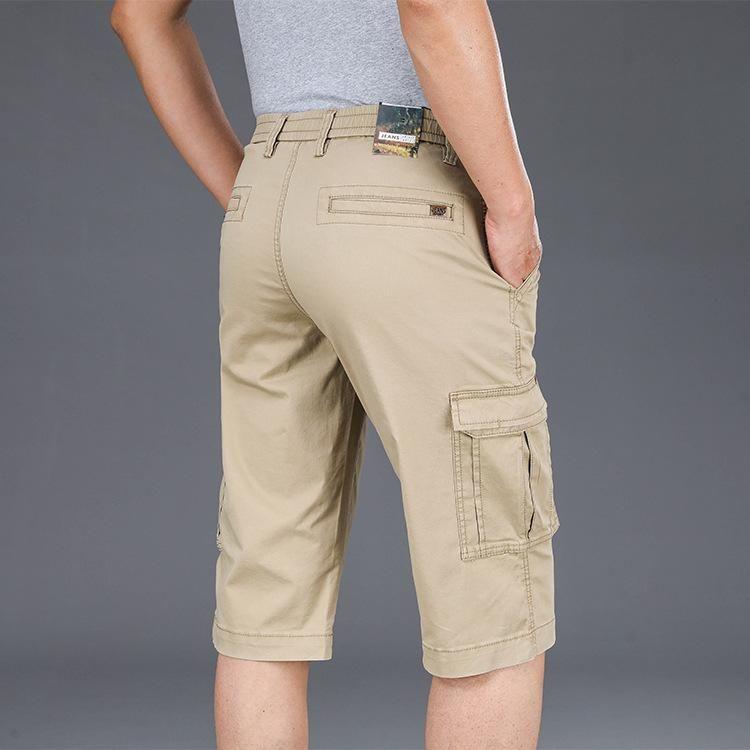 Herren Shorts IcPans 2021 Sommer Lässige Männer Gerade Lose Elastische Taille Multi-Pocket Cargo Army Große Größe 40 42 44