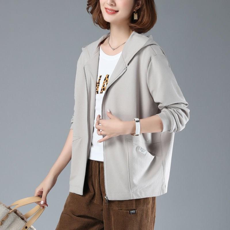 Kadın Bahar Boy Ceket Sonbahar Uzun Kollu Kısa Ceket Kapşonlu Giyim Rüzgarlık Kore Tarzı Moda Artı Boyutu Giydir