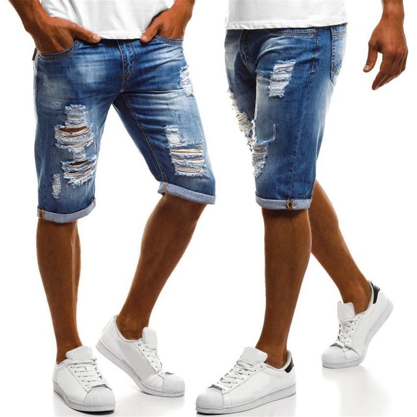 Mavi Erkek Jean Şort Yaz Yarım Uzunluğu Yırtık Skinny Slim Fit Sokak Genç Erkek Denim Şort