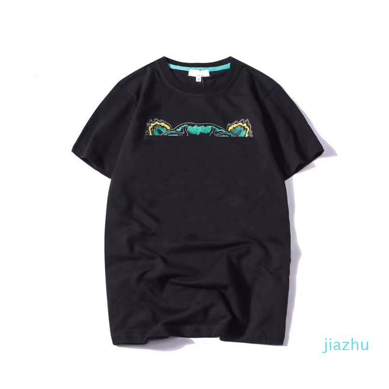 Hot Sale Fashion 19SS Summer T Shirt Animal Head Letters Embroidery Men Tee Shirts Fashion Short Sleeve Women Tshirt Streetwear S-2XL