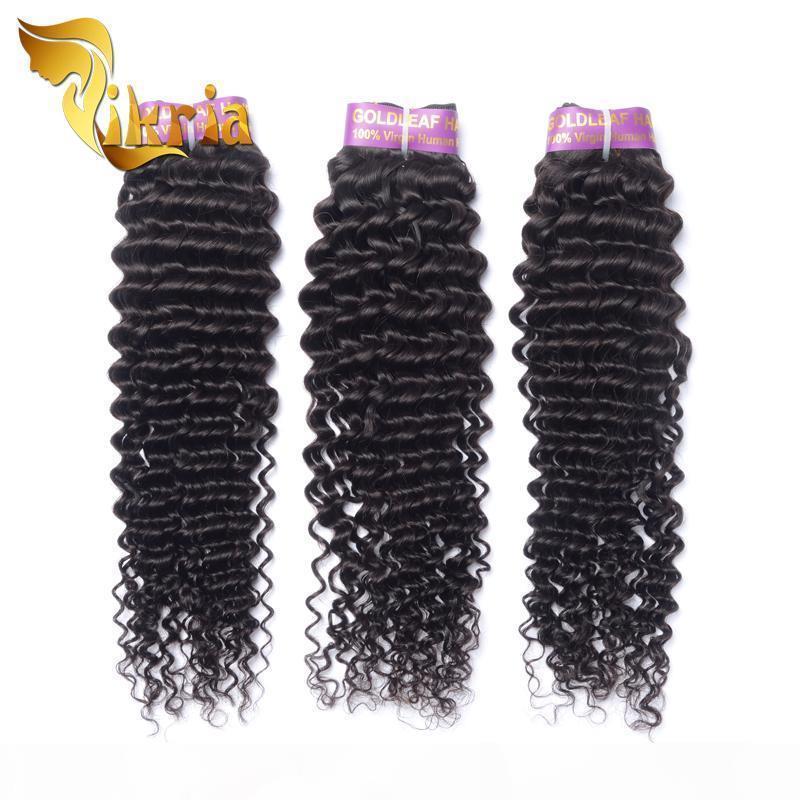 Extensions de cheveux humains brésiliens malaisien péruvien indien vierge cheveux humains wefts profonde bouclés 3 faisceaux de tissage de cheveux de meilleure qualité teinable