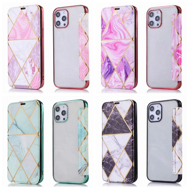 Boîtier de portefeuille en cuir géométrique en marbre plaqué pour iPhone 12 mini 11 Pro XR XS MAX XS 8 7 6 5 Couverture de téléphone de la coque métallique chromée