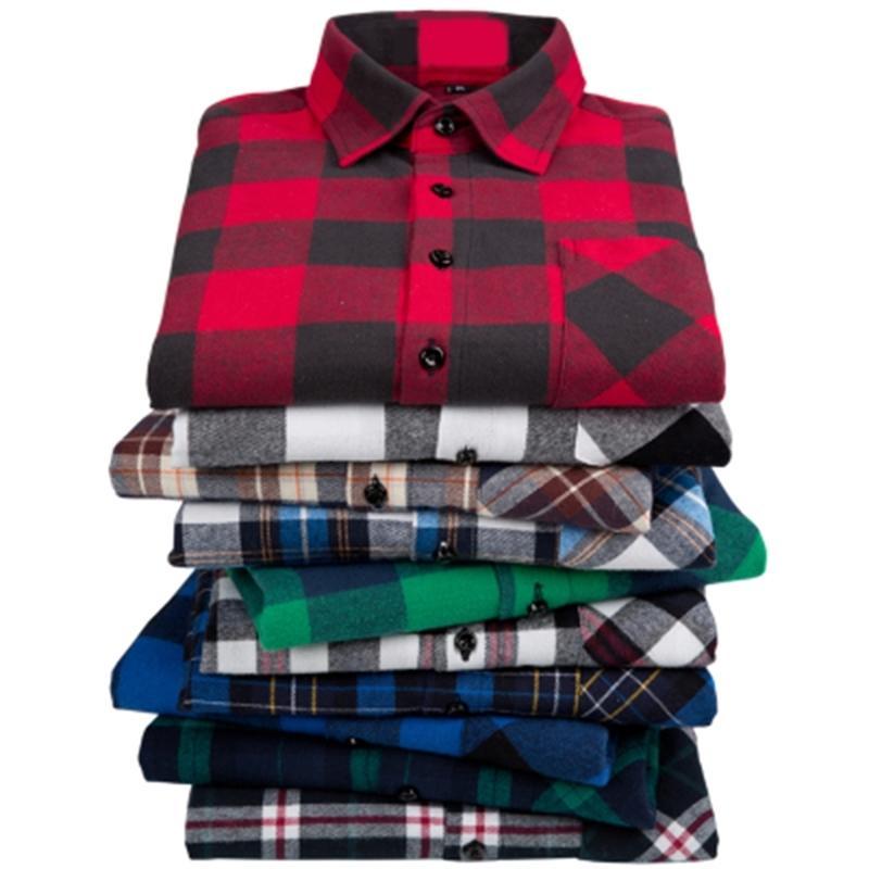 Casual camisa de manga comprida 100% algodão homens flanela camisa xadrez novo outono chemise homme algodão masculino verificação camisa homens camisa xadrez 210310