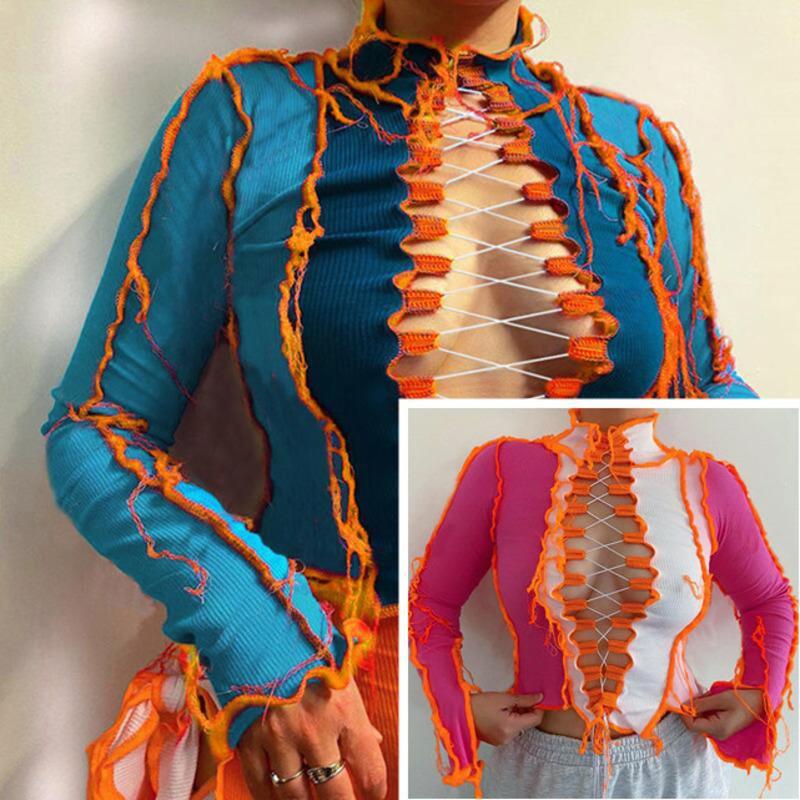 2021 yeni kadın t gömlek oymak seksi üst lady moda kontrast renk uzun kollu kayış ince t-shirt bodycon mahsul üst sonbahar kış