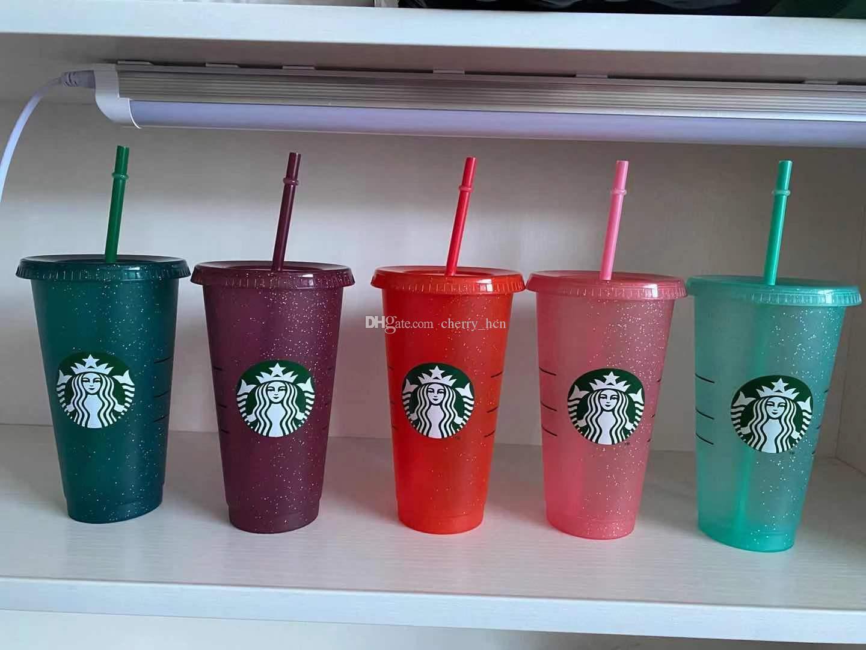 24 OZ Starbucks Renk Değişimi Tumblers Plastik Kahve Plastik Şeffaf Kupası Glitter Bardaklar İçme Suyu Kahve Kupa Samanlar ve Kapak Ücretsiz Shipp