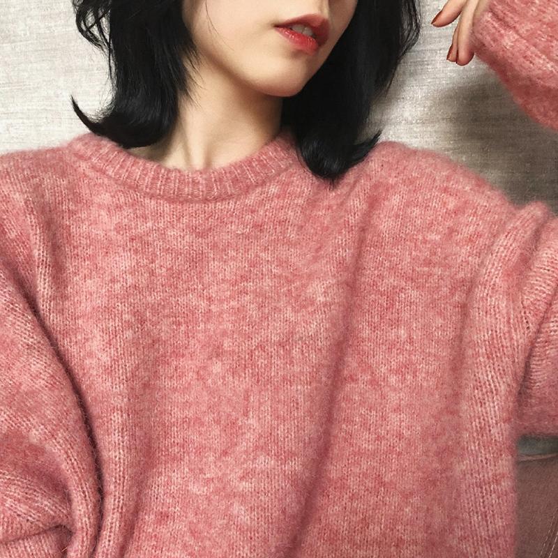Frauenpullover Frauen 2021 Winter Pullover Solide Kaschmir Pullover Strickkleidung Übergröße Batwing Sleeve Casual Korean Mode Kleidung