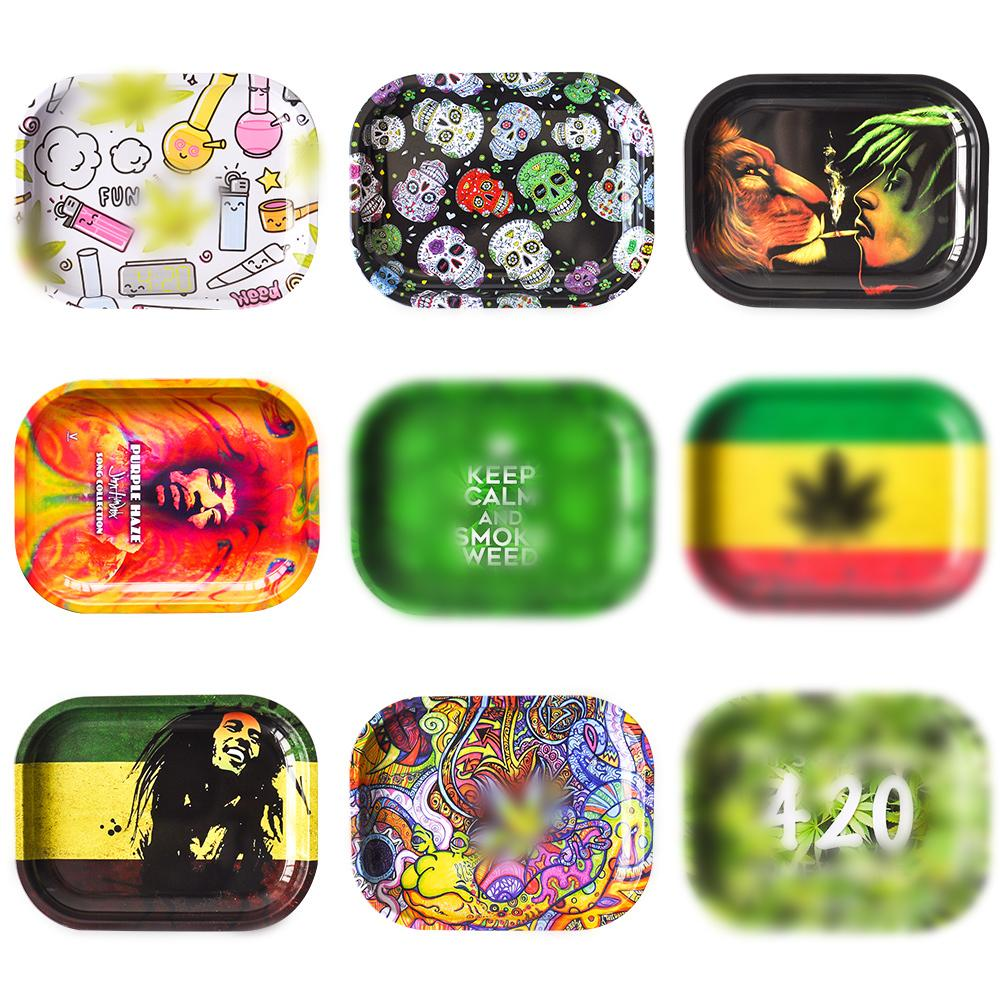 """Rolling Tray 7""""*5.5"""" Tobacco Metal Tray herb grinder tobacco storage smoke pipe for wholesale"""