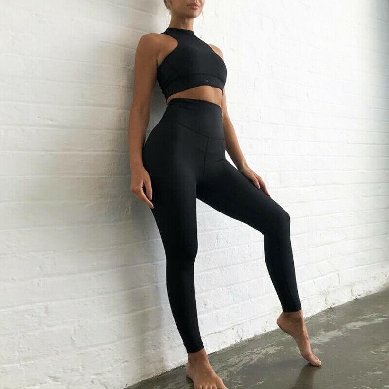 Kadın Eşofman Trendy Kadınlar Yaz Yoga Spor Salonu Elastik Pantolon Set Kadın Kolsuz Rahat Moda Spor Koşu Egzersiz Takım Elfit
