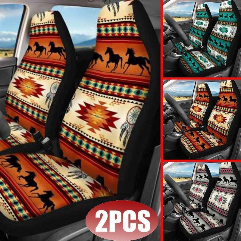 Autositzabdeckungen 2pcs Cover 3D Horse Printing Universal Frontschutzkissen Full für den meisten SUV
