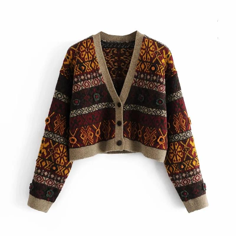 New Women 2021 Invierno Jacquard Punto Cardigan Cultivado Suéter Mujer Manga Larga Crochet Flor Vintage Cardigans S63U QTOP