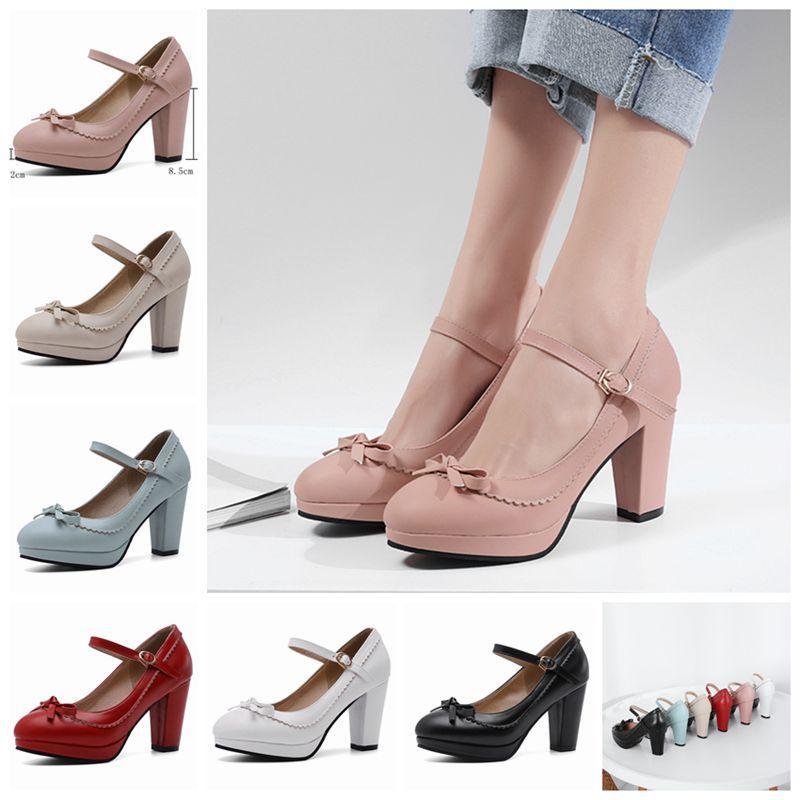 wholesale large size 45 46 Women strap pumps nude bows platform high heels round toe party wedding shoes bridal stilettos black