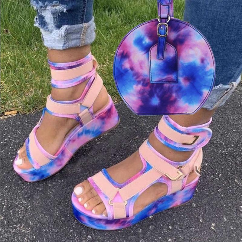 Sandálias de plataforma de tintura de torre de tornozelo Sandálias de plataforma e bolsa Mulheres plana saltos plana plana sapatos comfy verão buty damskie zapatos