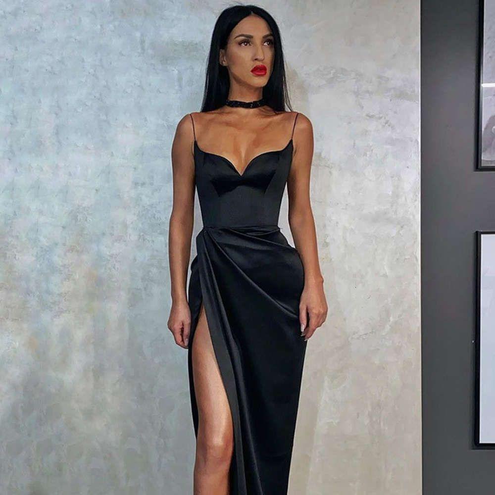 Seksi V Yaka Sıkı Bölünmüş Dize Sling Kadın Moda Saten Katı Renk Kişiselleştirilmiş Pileli Elbise