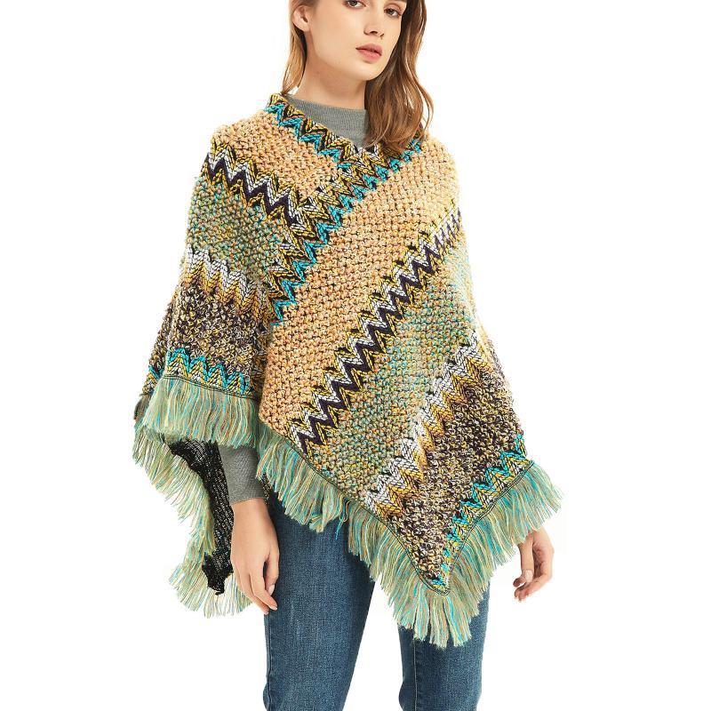 Schal Frauen Mode ethnischen Stil Retro Kopf Schal Softs Damen Casual Cape Dicke Farbe Gestreifte Schal Geschenke Echarpe Femme