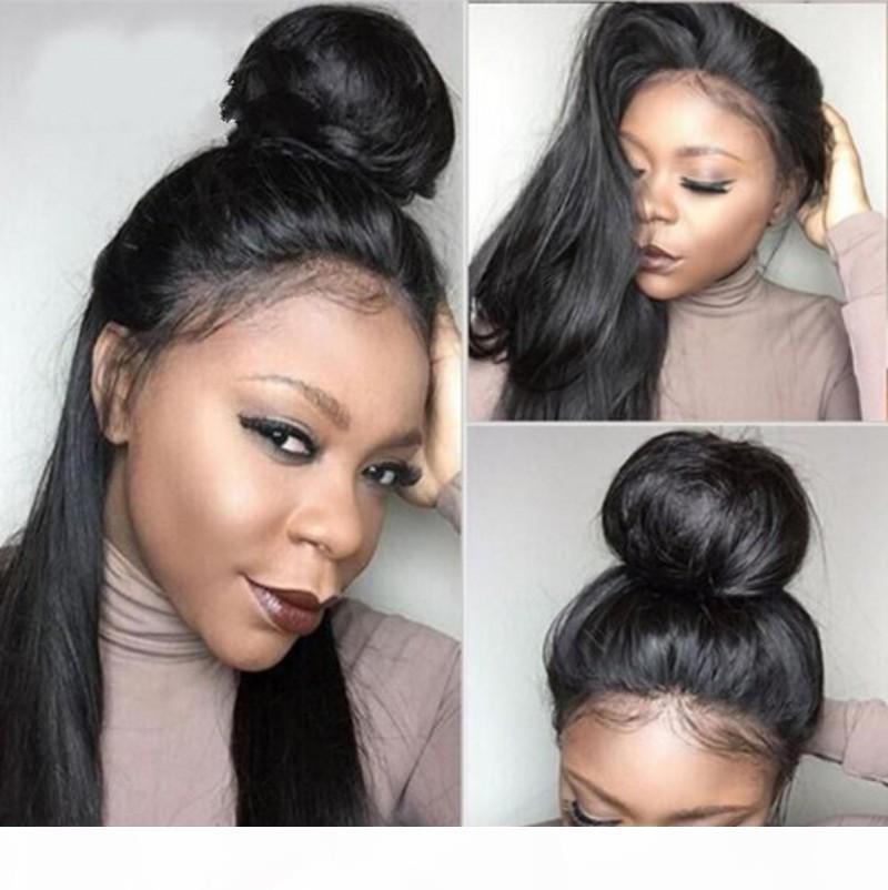 Preucked бразильские человеческие волосы полные кружевные парики Девы прямые волосы шнурки переднего парика для женщин