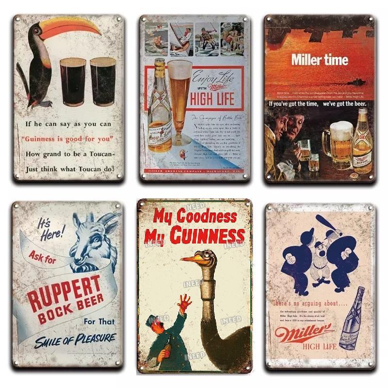 2021 Vintage Guinness Stag Beer Métal Mur Art Affiche Anneau Panneau Vintage Miller Temps Metal Signer Irish Pub Cuisine Restaurant Accueil Décoration
