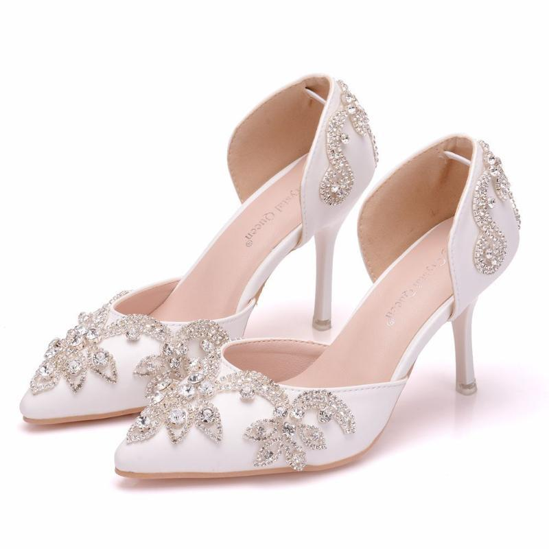 Сандалии 8 см алмазные свадебные туфли Тонкий каблук заостренный полый двух частей внешняя торговля большая