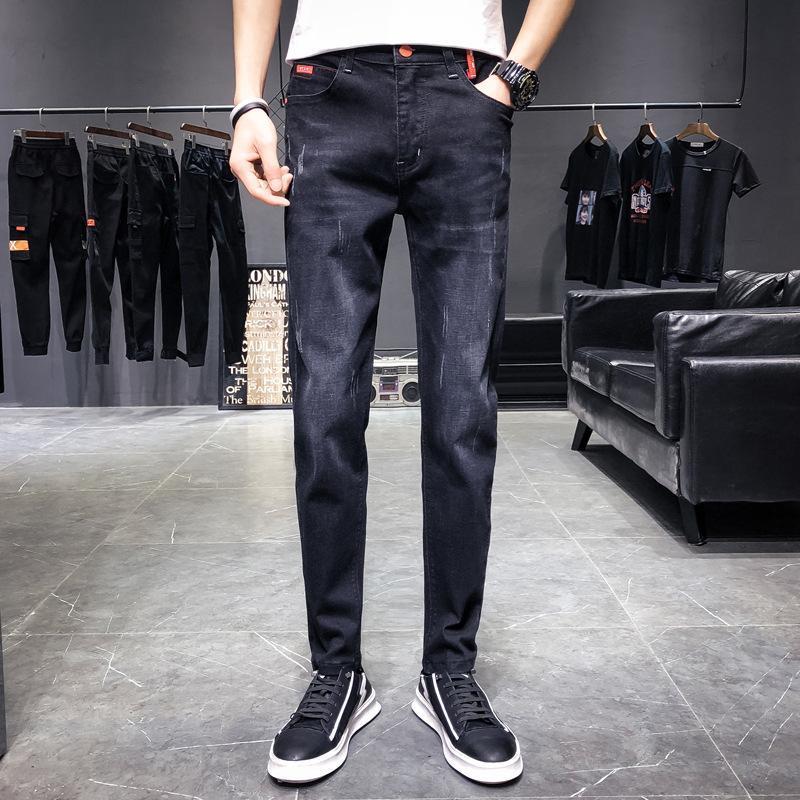 2021 Новое поступление мужские джинсы Джинсы прямые полные брюки с высокой эластичностью тонких брюк мужчина мода средняя талия джинсы мужчин