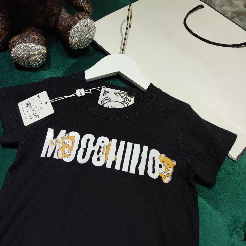 2021SS Designer Kleidung Kinder T-shirt Baby Designer Kleidung Kämmte Baumwolle Mos T-Shirt Jungen T-Shirt Schwarz 100-150