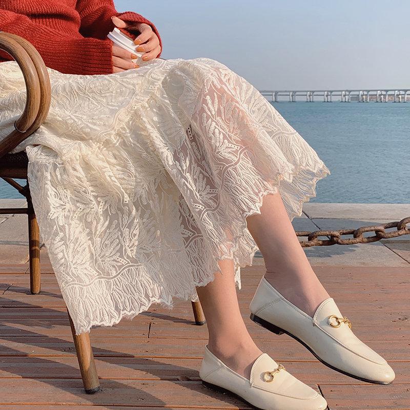2021 Streetwear Новый Офис Леди Кружева Остальные A-Line Нежно Все Матч Упругость-талия Сладкие Женщины Высокая талия Долгая Юбка 405