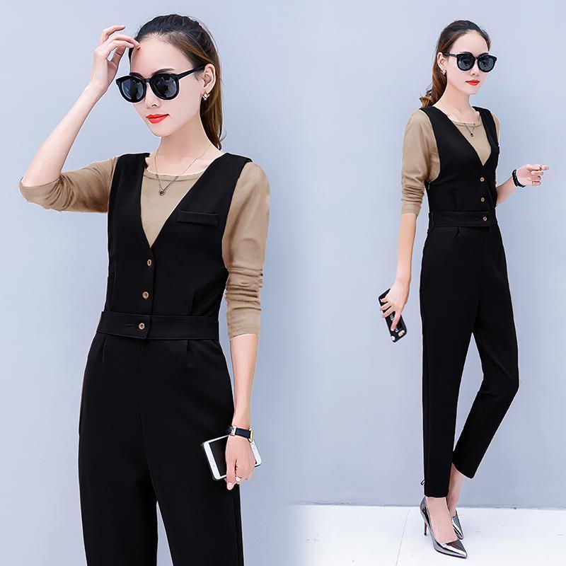 Frauen Trainingsanzüge Frauen Dünne Jumpsuits T-shirt Outfit Herbst Zwei Teiler Kleidung Set Frühlings- und Büro Koreaner Mode V-Neck-Jumper