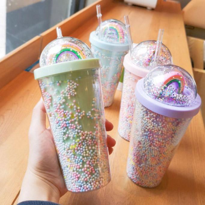 Sevimli Gökkuşağı Starbucks Fincan Çift Plastik Çocuklar Için Pet Malzeme Çocuklar Için Yetişkin Kız Hastaları Hediye Ürünleri için FY4479 Deniz