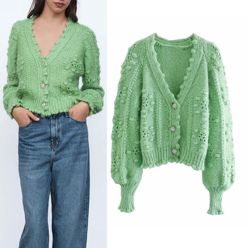 Женщины 2021 Новый Зеленый Текстурированный Weave Обрезанный Вязаный Свитер Cardigan Свитер осень V-образным вырезом Слушающаяся Рукавная Кнопка верхняя одежда EDCM CTK0