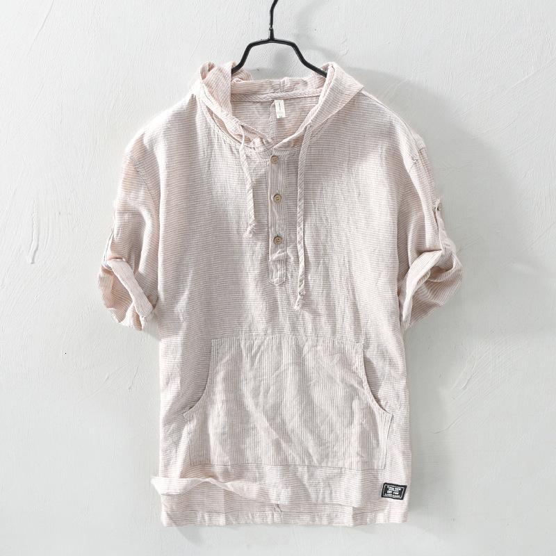 2021 Novas Camisas Masculinas Vintage Japonesas, Gola Com Capuz, Linho, De Algodo, Meia Comprimento, Casual 4znh