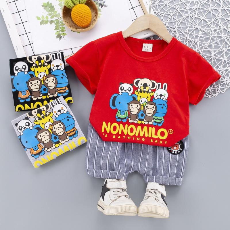 2 قطع طفل أطفال طفل الفتيان تتسابق t-shirt قمم + السراويل ملابس مجموعة الملابس