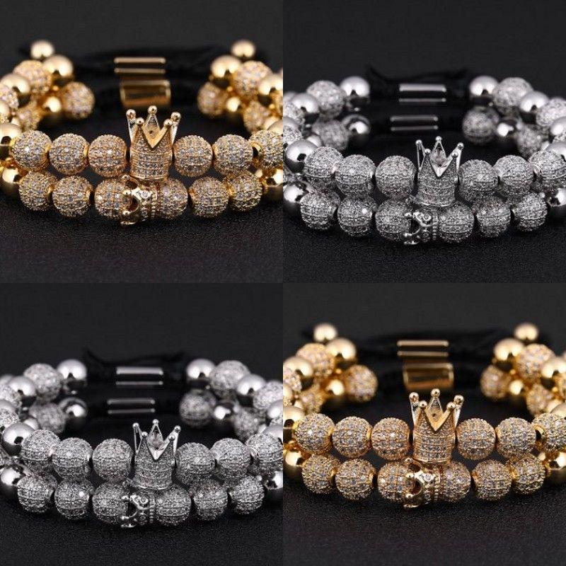 Pulsera de los hombres 2 unids / set Pulsera de la corona de lujo Pave Cubic Zirconia Starlight Ball Ball Charms Copper Beads Men Bangles for Men Jewelry 99 R2