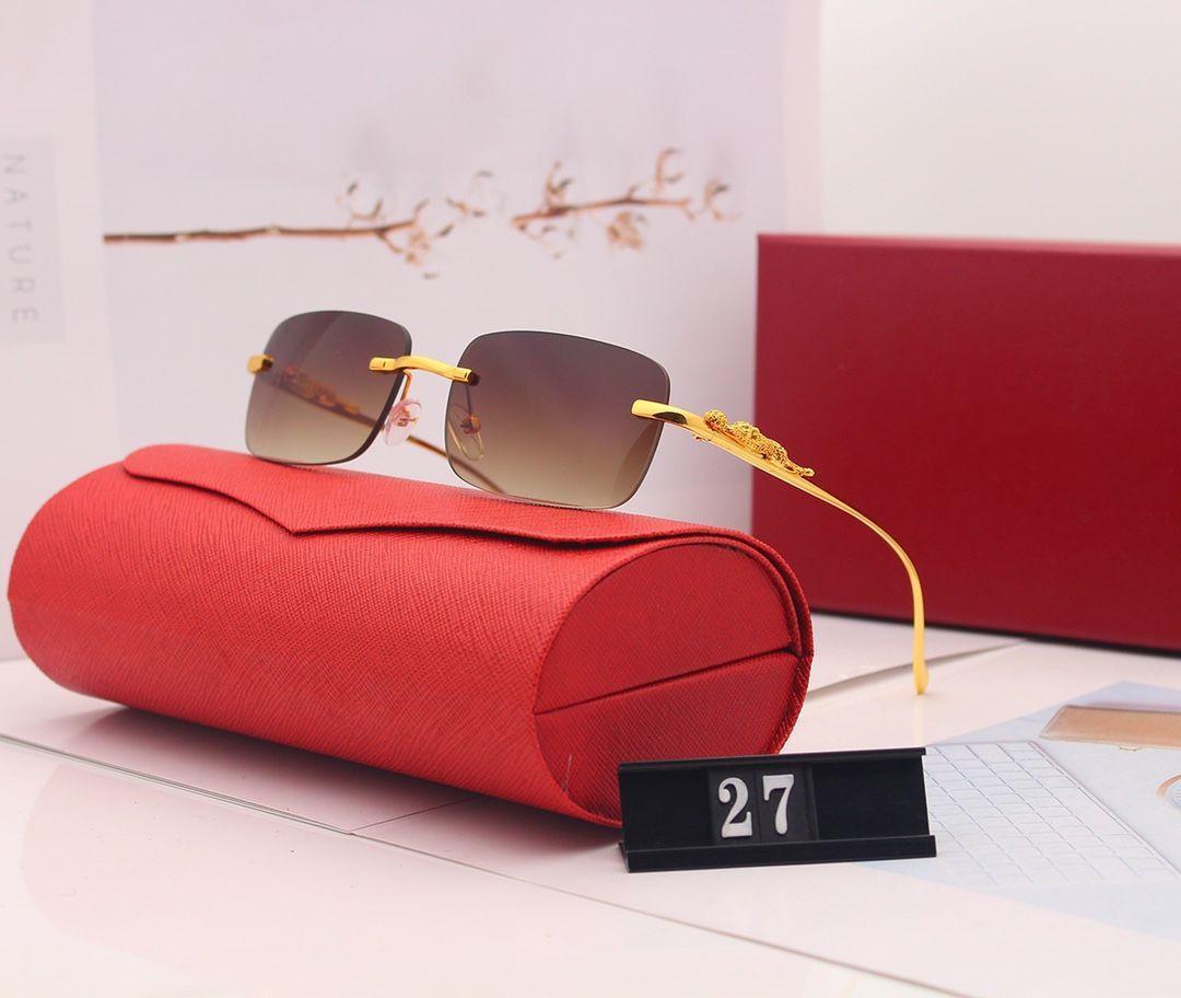 Yeni Yaz Güneş Gözlüğü Moda Gözlüğü Adam Kadınlar Çerçevesiz Güneş Gözlüğü Modeli 27 Güneş Gözlüğü UV400 5 Renk Süper Kalite Hediye Kutusu ile Mykhfkm