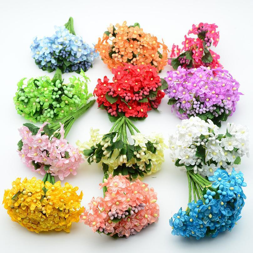 6pcs Artificial Flowers Cheap For Christmas Wreath Decor Home Vases Wedding Pompon Diy New Year Gifts Fake Stamen Silk jllbrK