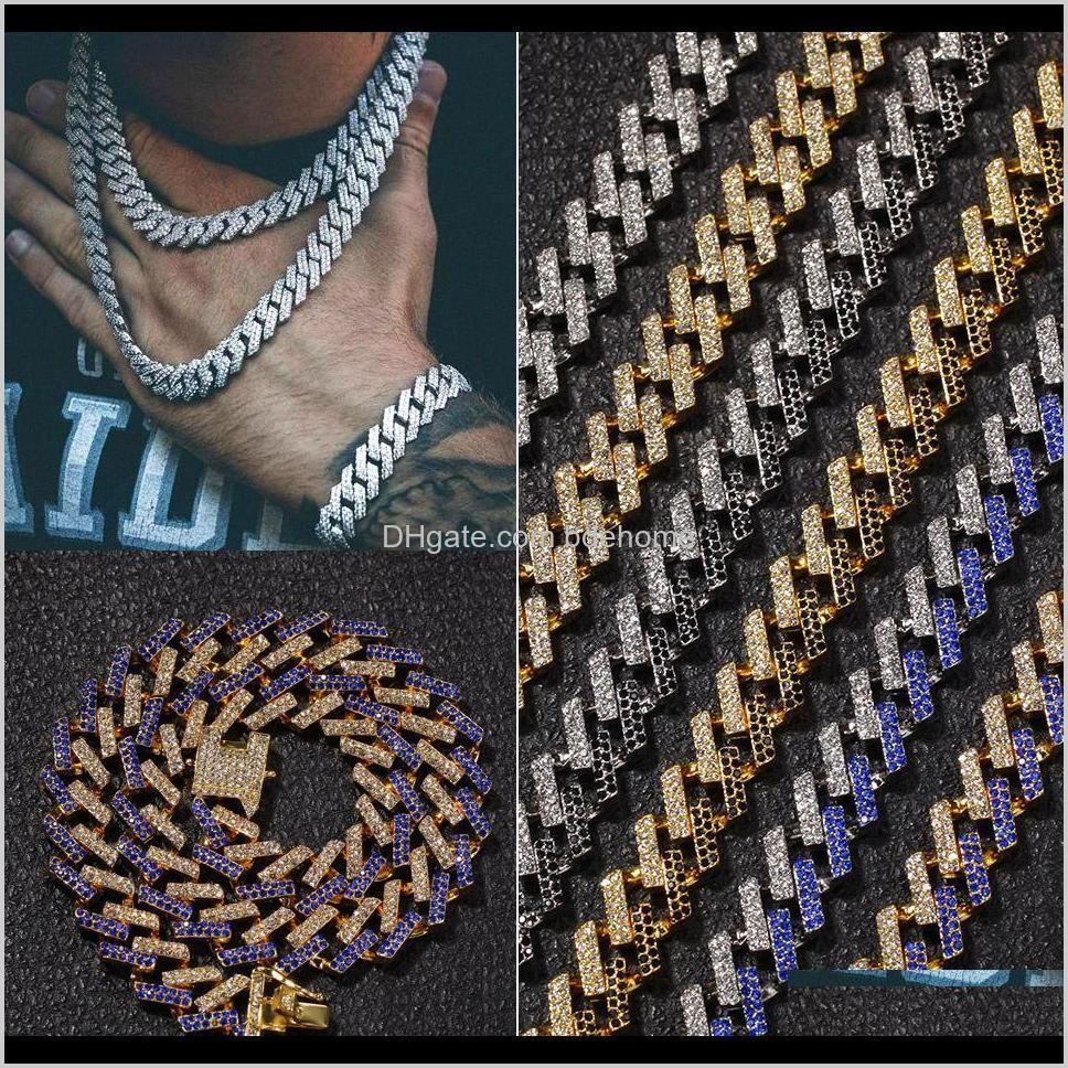 15 мм 6 Цветов Персонализированные золотые серебряные хип-хоп Bling Diamond Cuban Link цепочка ожерелье для мужчин Miami Rapper Bijoux мужские цепи ювелирные изделия QD2AW