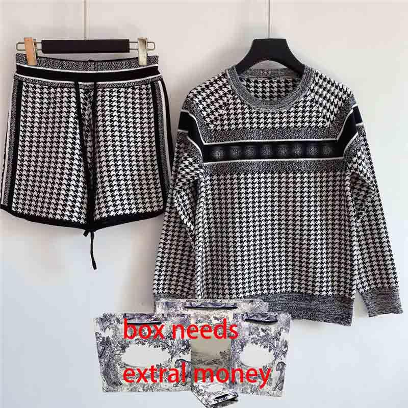 21SS Femmes Sweaters Contacts Set de Pull Broderie Setteurs Lady Style Tricoté Sweater + Pantalon Casual Mix Couleur Taille S-L