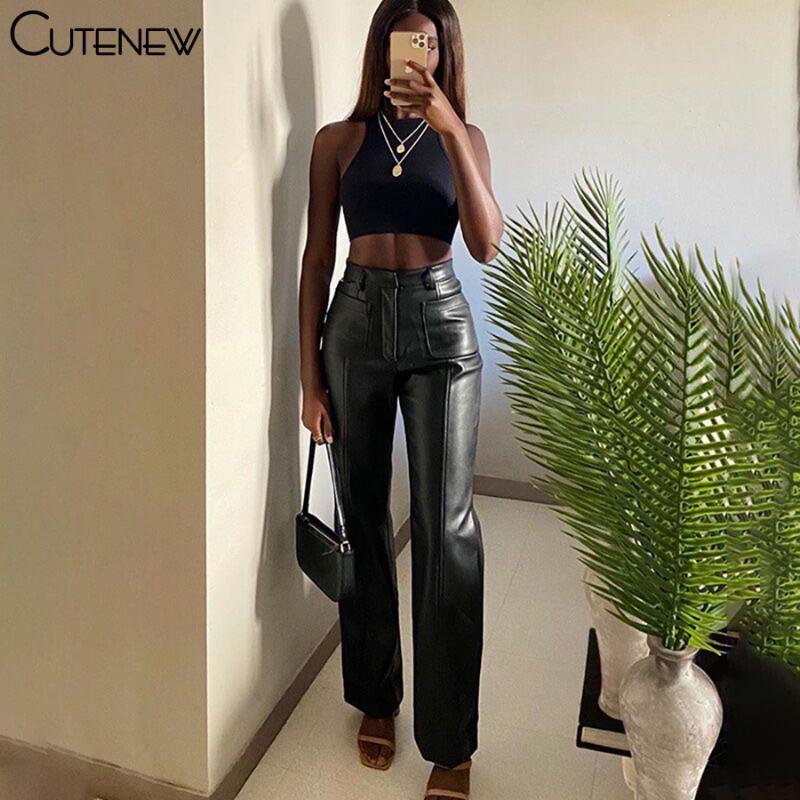 CUTENEW 2021 Herbst Mode Faux Leder Gerade Hosen Luxuriöse Vintage Freizeit PU Lose Büros Frauen Slim Design Hose