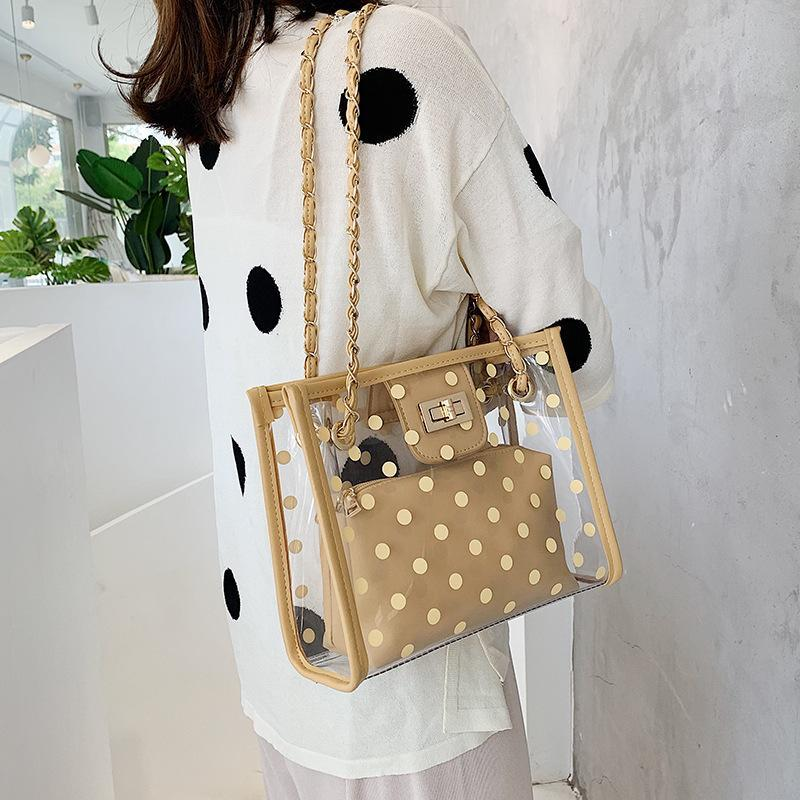 Sommer Luxus Qualität Tasche Handtaschen Taschen für Frauen 2021 Klarer PVC Schulter Jelly Crossbody Damen Designer Dot Transparent ADTDN