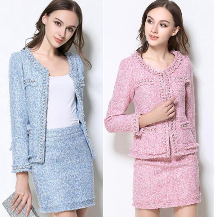 Work Dresses Skirt Suits Women Runway Designer Elegant Office Lady Formal Tweed Wool Blazer Jacket Mini 2 Piece Sets 2021 Autumn Winter