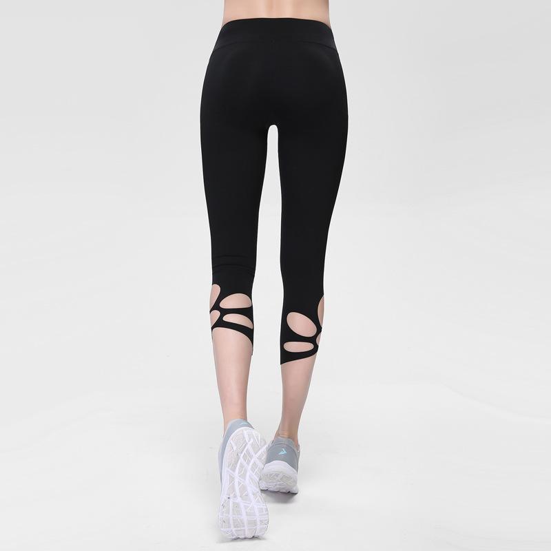 Сжатие леггинсов, бегущие женщины обрезанные брюки йога леггинсы