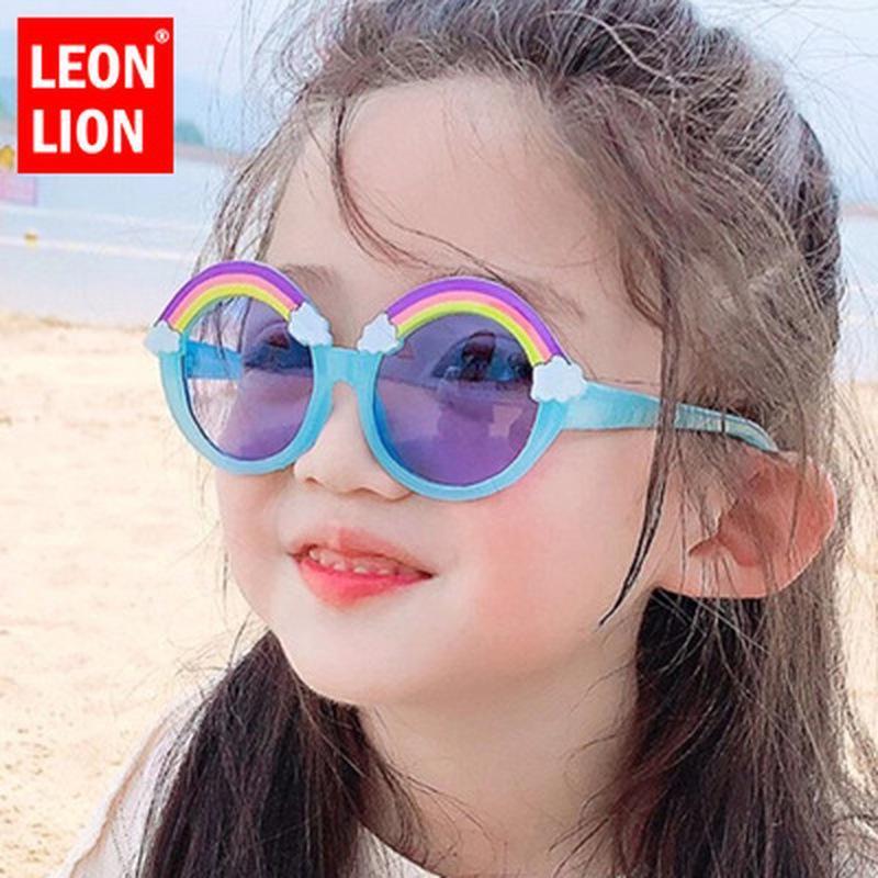 Солнцезащитные очки Leonlion 2021 Sunlasses Детская раунд Радуга Детская мода Очки Бренд Дизайн Океанский объектив Оценка зрелище