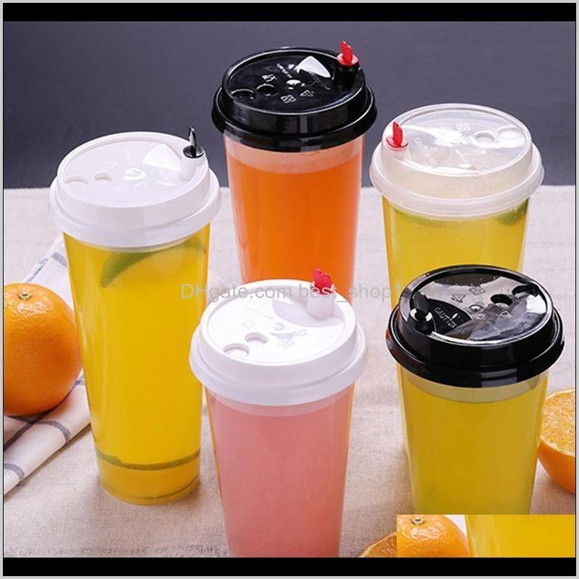 700 ملليلتر 24 أوقية أكواب بلاستيكية يمكن التخلص منها على الباردة الساخنة مشروبات عصير القهوة حليبي كوب الشاي رشاقته أداة شفاف شفاف مع غطاء WNII1D EA43L