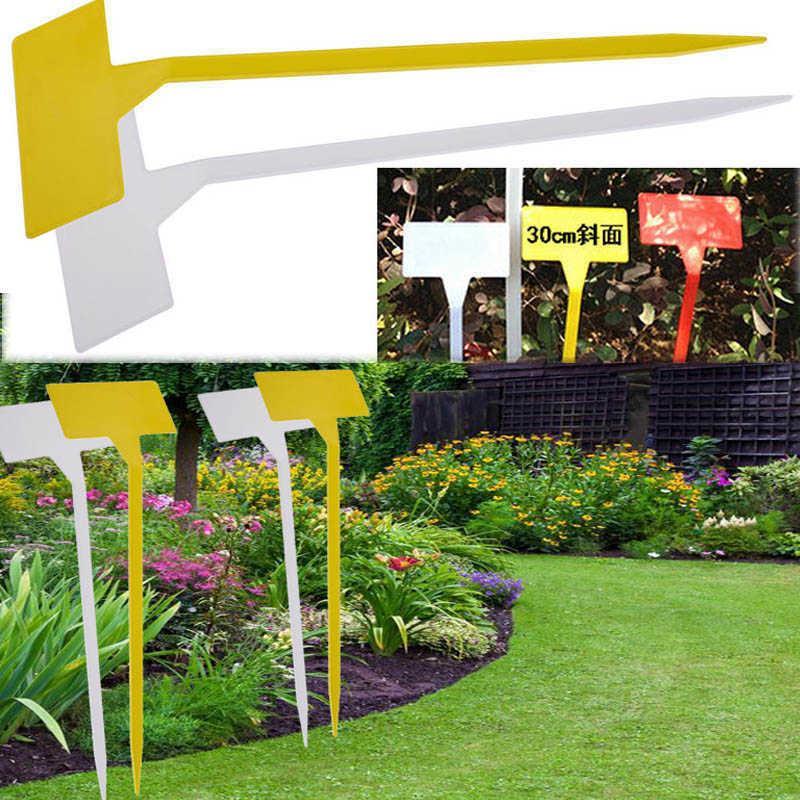 50 pcs Ornamento de jardim 30cm Hight Plastic Plant Plant Markers T-Tipo Tags Upturned Tags Inclined Plane Marker Berçário Sinais Ervas Ervas 210615