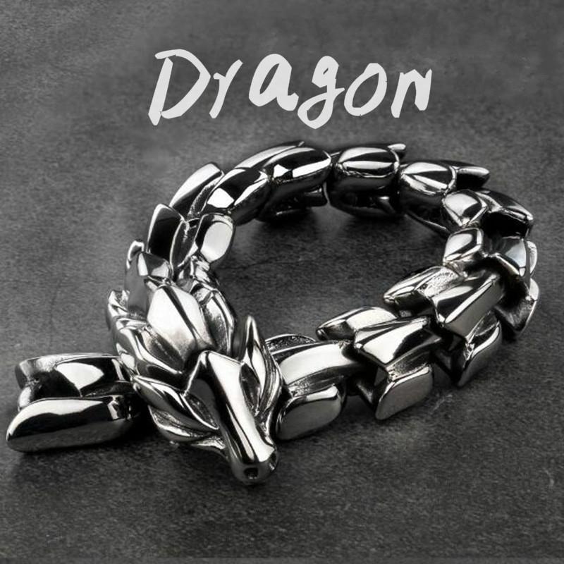 Dragon Bracelet Personality Retro Titanium Acciaio Acciaio Braccialetto Braccialetto Trendy Mens Handmade Gioielli regalo